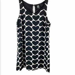 Bobeau Heart Print Shift Dress Small